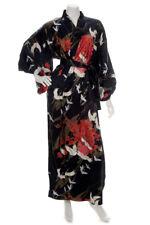 SEDA Crane Estampado Negro Largo kimono japonés