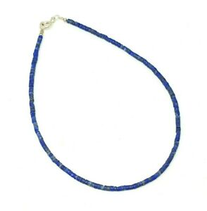 Afghan Natural Tiny Seed Genuine Lapis Lazuli Beads Anklet Sterling Silver
