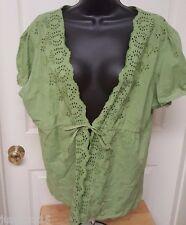 Gitano NWT Womens Green Design Tie Front Shirt Top Blouse Size XL