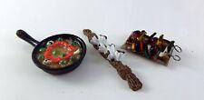 Cucina In Miniatura Casa Di Bambole BBQ Accessorio Pan Paella,Vassoio Kebab &