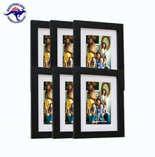 "6 Black Picture Frames 8""x10"" (20cm x 25cm) + Mat for 5""x7"" (13cm x 18cm) photos"