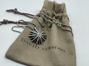 "David Yurman Silver 26mm Medium Starburst Diamond Pendant Chain Necklace 18"""