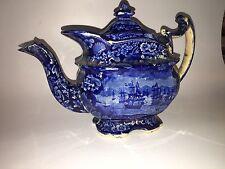 Historical Staffordshire Dark Blue Teapot Macdonoughs Victory Ca. 1825
