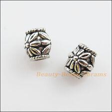25Pcs Tibetan Silver Tone Flower Barrel Spacer Beads Charms 6.5mm
