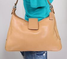 COACH Medium Tan Leather Shoulder Hobo Tote Satchel Purse Bag
