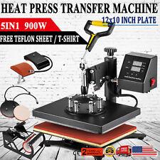 5 In 1 Heat Press Machine Digital Transfer Sublimation T Shirt Mugplate Hat