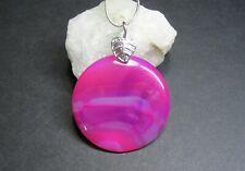 Natural Pink and Purple Agate Gemstone Pendant - Handmade