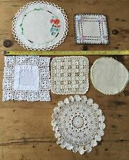 VINTAGE SET OF 6 BEAUTIFUL VARIOUS LACE & LINEN DOILIES - VARIOUS SIZES