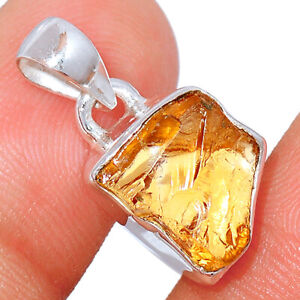 AAA Mandarin Citrine Rough, Brazil 925 Sterling Silver Pendant Jewelry BP62540