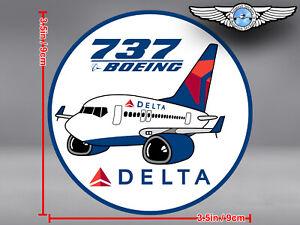 DELTA AIR LINES ROUND PUDGY BOEING B737 B 737 DECAL / STICKER