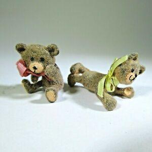 2 Miniature vintage artisan TEDDY BEARS dollhouse 1:12 artist made UNUSUAL pair