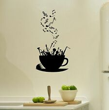 Coffee Cup Musical Notes and Instruments Sticker Kitchen Wall Decal Sticker Art