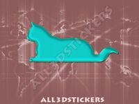 Pegatina Gato 3D Relieve - Color Turquesa
