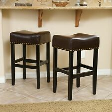 Classic Brown Leather Bar Stools w/ Bronze Nailhead Accent (Set of 2)