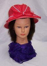 Red Hat Ladies - Red Bucket Style Straw Hat w/Rhinestone Accents