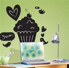 CUPCAKE CHALKBOARD wall stickers MURAL 10 decals birds chalk sweet room decor