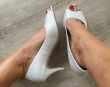 BETTS SILVER SPARKLE PEEP-TOE HEELS 10 Eva Glitter glam formal dress shoe pumps