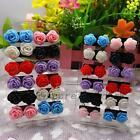 Lot De 12 Paires Boucles d'Oreilles Grosse Fleur Rose Clous Bijoux Multicolore