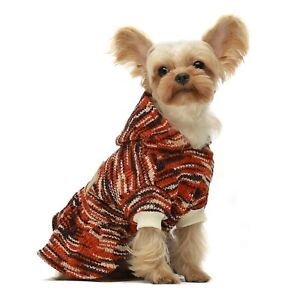 Fitwarm XMAS knitted Dog Dress Orange Pet Clothes Winter Coat Chenille Hoodies