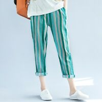 Lady Linen Green Striped Capri Cropped Pants Baggy Tapered Trousers Hippie Boho