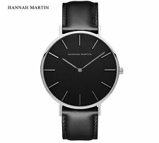 HANNAH MARTIN | Damen Business Quartz Uhr | Leder |  Schwarz | Armbanduhr |