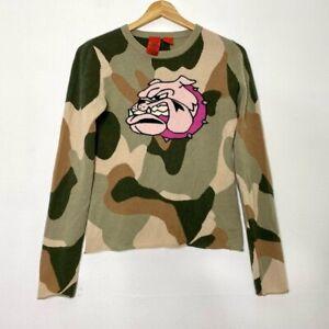 A&G by Amal Guessous RARE Bulldog Camo Cashmere Crewneck Sweater Medium