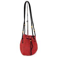 Vtg Womens Made In Gutamala Red Woven Bucket Bag Shoulder Beaded Ethnic