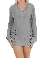 Womens 14 Button V Neck Knitted Jumper Casual Ladies Dress Size UK S M L XL L/xl Dark Grey 95 Acrylic 5 Elastane