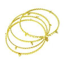 Fashion Gold Tone Bangle Bracelets with White Beads - Set of 4 - Made in India