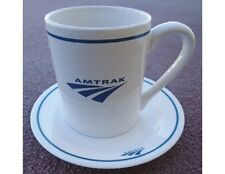 2-pc Corelle BLUE AMTRAK STONEWARE MUG & SAUCER SET Cup Plate Railroad Train NEW