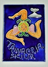 Sicilian Trinacria Handpainted Ceramic Tile Italy  EXCELLENT VINTAGE QUALITY