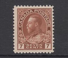 Canada Sc 114 MLH. 1924 7c red brown KGV, dry print, fresh.