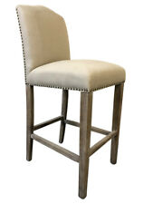 Classic French Design Natural Linen American Oak Timber Dining Chairs - 2xPcs