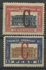 "No: 69611 - PARAGUAY -  LOT OF 2 OLD STAMPS w. OVERPRINTS ""C"" - MH!!"