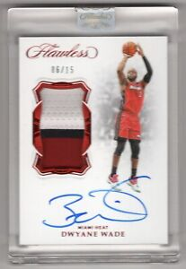 2018-19 Flawless Dwyane Wade Game Used 3-COLOR Patch Auto RUBY 06/15 HEAT SEALED
