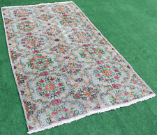 Turkish Rug 56''x91'' Vintage Muted Color Primitive Wool Carpet 4'7''x7'6''