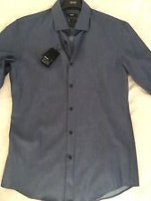 Hugo Boss Size 40 (15 3/4) Blue With White Spots Comfortable Travel Shirt