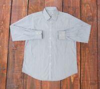 Charles Tyrwhitt XL 17 White Blue Striped Extra Slim Fit L/S Dress Shirt 17-35