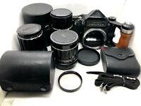 【Near MINT】 Pentax 6x7 67 Mirror Up + SMC T 75,135,200mm 3Lens + More item JAPAN