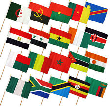 "12x18 12""x18"" Set of 20 African Countries Stick Flag wood Staff"