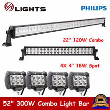"52"" 300W Philips LED Light Bar Combo + 22"" + 4X 4"" 18W Cree Pod Lights UTE Jeep"