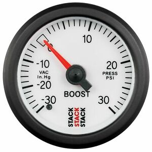 Stack Mechanical Turbo Boost Pressure Gauge -30 To +30 Psi White Face 52mm 3162