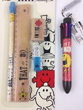 Roger Hargreaves Mr. Men Happy Stationary LOT Multi-Color Pen Ruler Eraser +