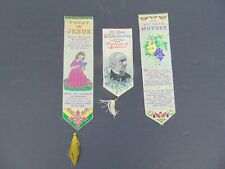 3 Antique Stevengraph Style Silk Ribbons / Bookmarks