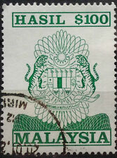 Malaysia Used Revenue Stamps - $100 Stamp (Old Design Big Size)