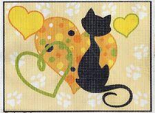 Color Impreso Punto de Cruz, Bordado, tapicería Lona Gato Negro Y Corazones