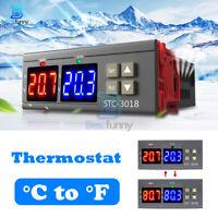 12V 24V 110-220V STC-3018 Thermostat Dual Digital Temperature Controller Probe