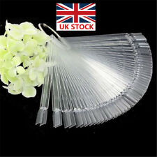 50X Clear False Nail Polish Display Art Sticks Fan Wheel Tips Pop Practice Ring