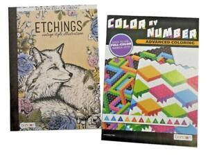 Adults Color by Number Activity Book Etchings Adult Coloring Books Set of 2 NEW