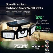 70LED Solar Wall Light Outdoor Motion Sensor Rotatable 3 Head Garage Street Lamp